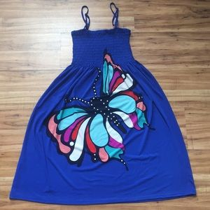 Dresses & Skirts - Colorful Butterfly Blue Sundress or Swim Coverup